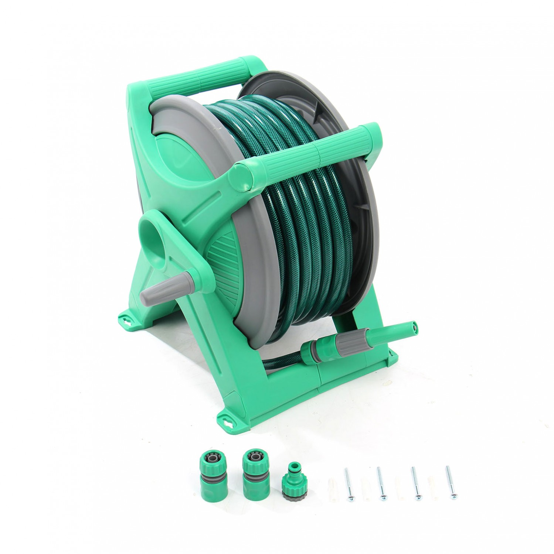 Tambur pentru furtun, Grunman DY6330 + dispozitiv perete + cuple + 20 m furtun 13 mm