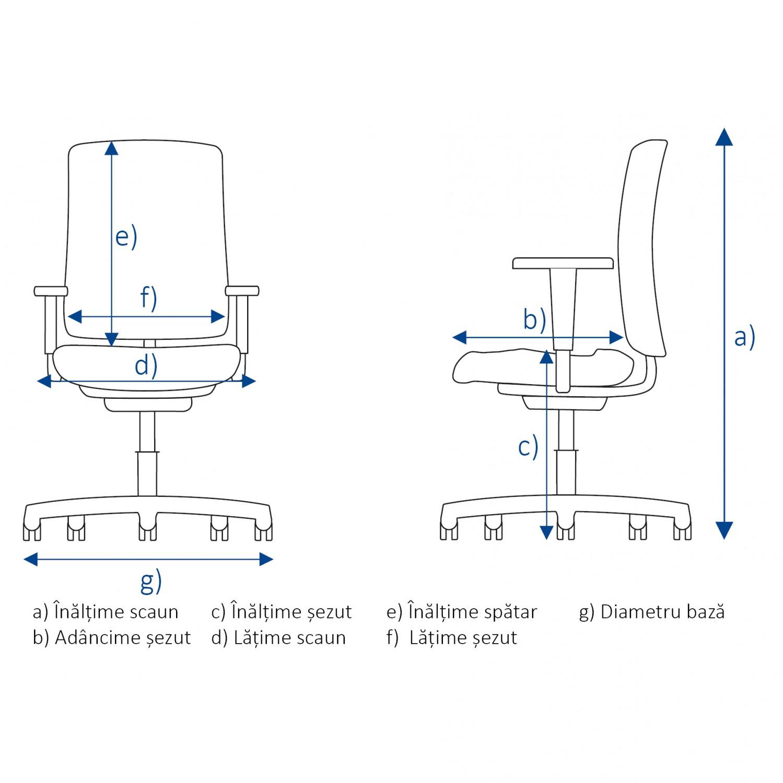 Scaun birou ergonomic Vector, rotativ, mesh + material textil, gri + negru