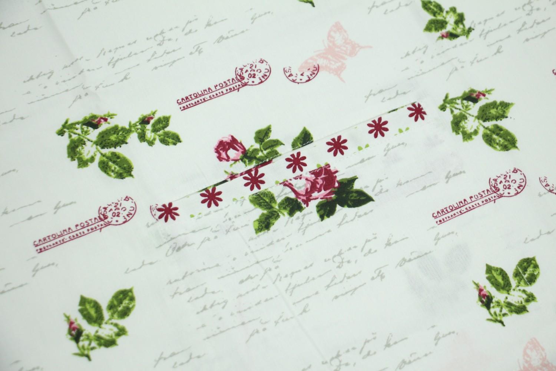Sort bucatarie N-7743, model floral, bumbac, bej + roz + verde, 90 x 70 cm
