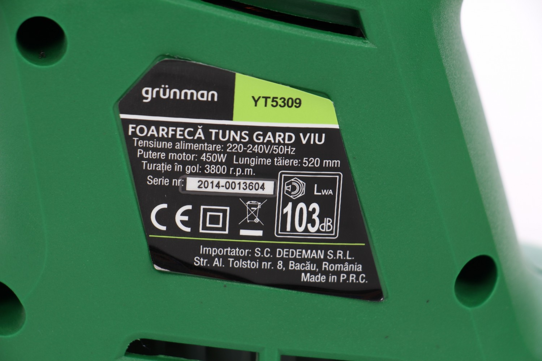 Foarfeca electrica pentru tuns gard viu / pomi Grunman 450 W, 52 cm