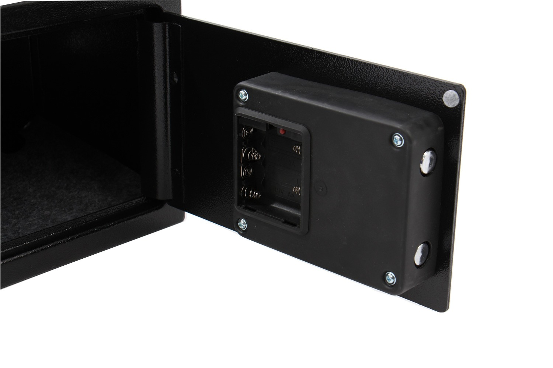 Seif perete Yale Value YSV/200/DB1, electronic  + cheie cu 2 bolturi, din otel, negru, 20 x 31 x 20 cm