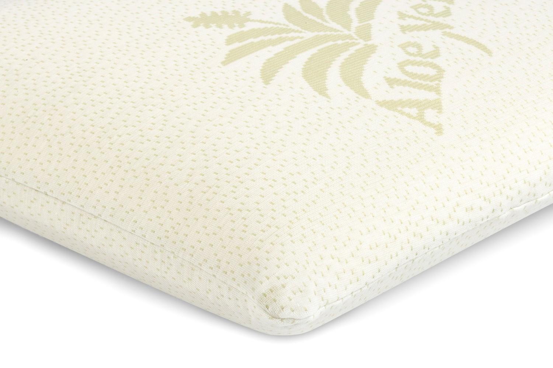 Perna pentru dormit Minet Memory Aloe Vera Clasic, tricot 100% poliester tratat cu Aloe Vera + spuma cu memorie, galben, 42 x 72 cm