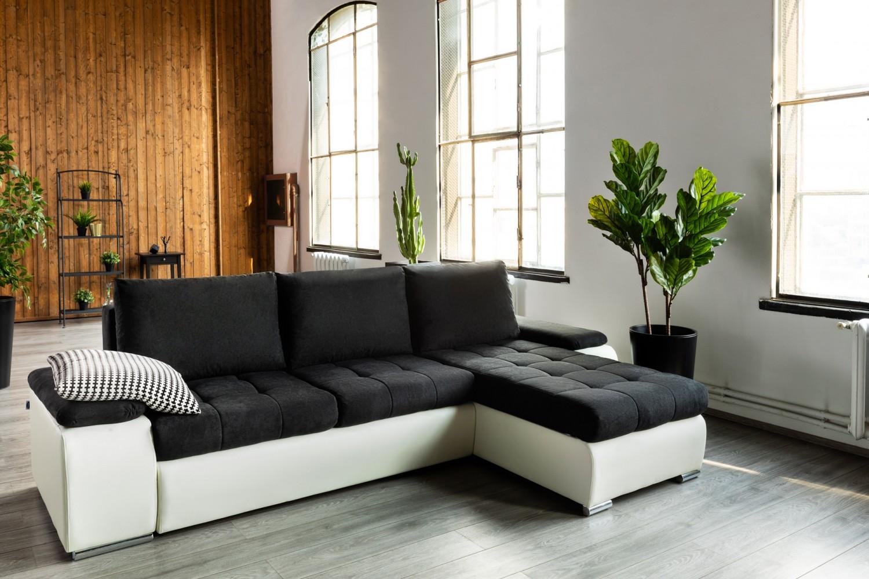 Coltar living extensibil pe stanga / dreapta Lorella, cu lada, negru + crem, 295 x 170 x 80 cm, 2C