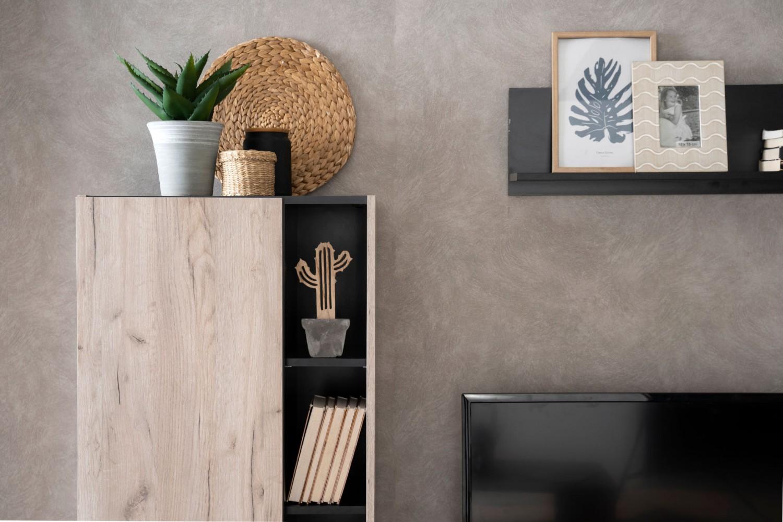 Biblioteca living Viterbo, stejar gri + negru, 210 cm, 2C