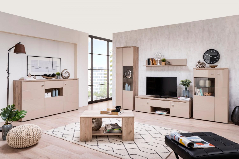 Comoda cu sertar Toscana 3K1F, stejar gri + folie lucioasa nisip, 173 x 40 x 96 cm, 2C