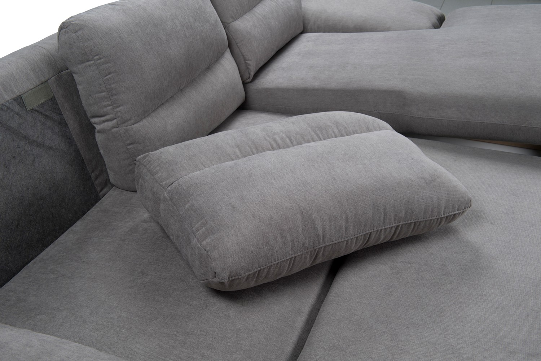 Coltar living extensibil pe stanga Ella 2F-REC/BK, cu lada, gri, 256 x 160 x 90 cm, 2C