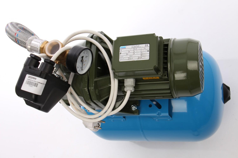 Hidrofor Saer M100, cu pompa autoamorsanta din fonta + vas 24 L + presostat + manometru + furtun flexibil + racord 5 cai + ejector, 750 W
