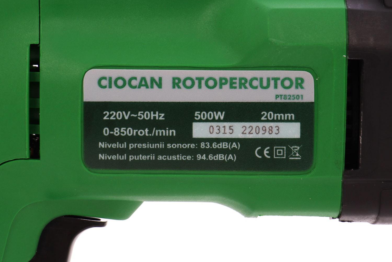 Ciocan rotopercutor cu 2 functii, Hobbyst PT82501, 500 W