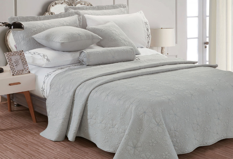 Cuvertura de pat, Caressa, 1728, 100 % bumbac, gri, 220 x 240 cm