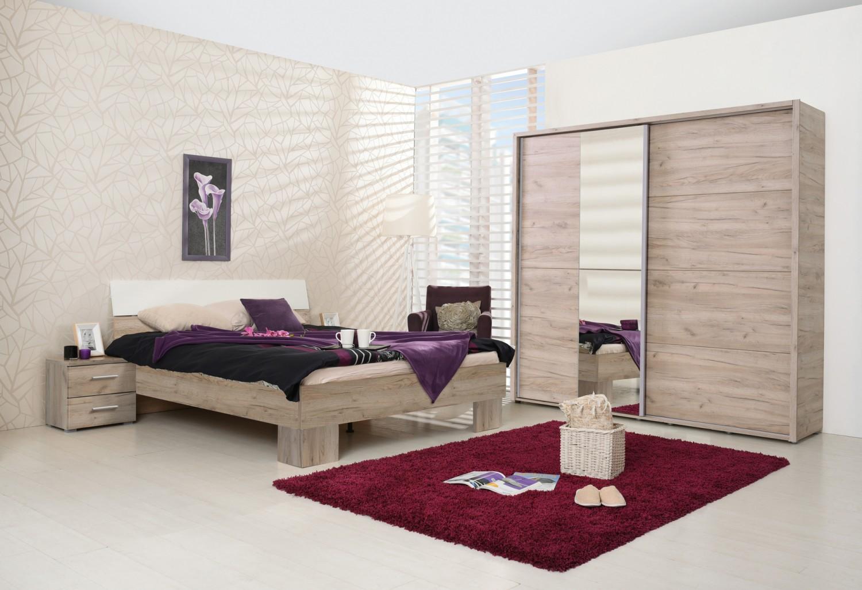 Dulap dormitor Logan 180, stejar gri, 2 usi, cu oglinda, 184 x 61 x 206 cm, 3C