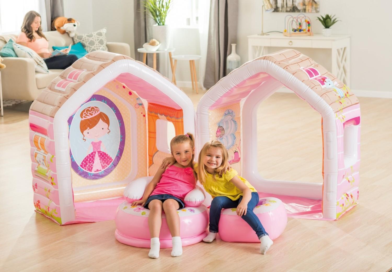 Casuta copii Intex 48635NP, gonflabila, PVC, interior / exterior, 124 x 109 x 122 cm + fotoliu gonflabil, pentru copii