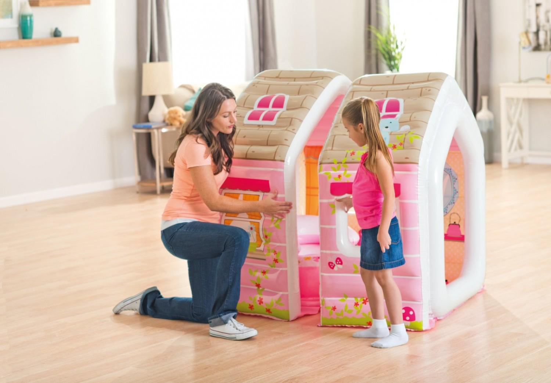 Casuta copii, gonflabila, PVC, interior / exterior, Intex 48635NP, 124 x 109 x 122 cm + fotoliu gonflabil, pentru copii