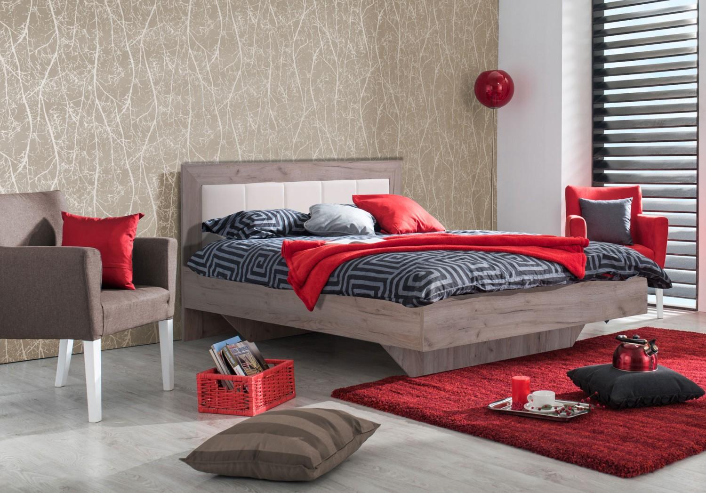 Pat dormitor Duos matrimonial, cu suport, stejar gri+alb 180 x 200 cm 4C