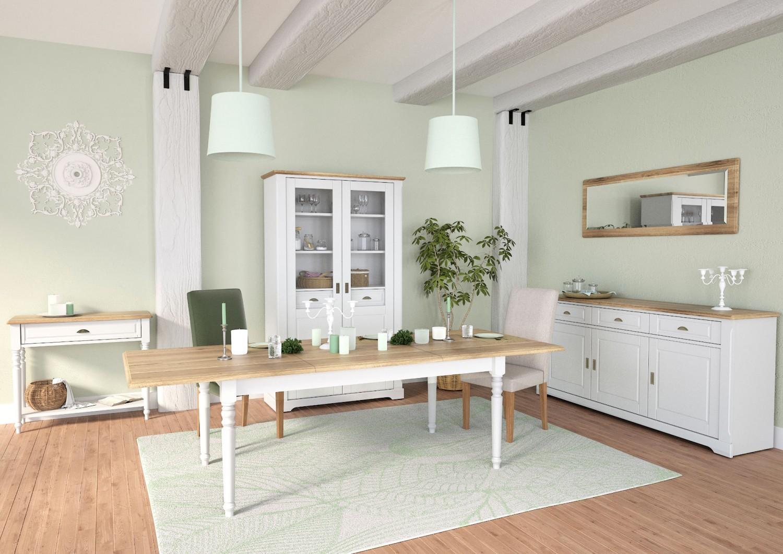 Masa bucatarie extensibila Cottage 0162TAREK, dreptunghiulara, 12 persoane, stejar natur + alb, 180 / 260 x 100 x 75 cm, 2C