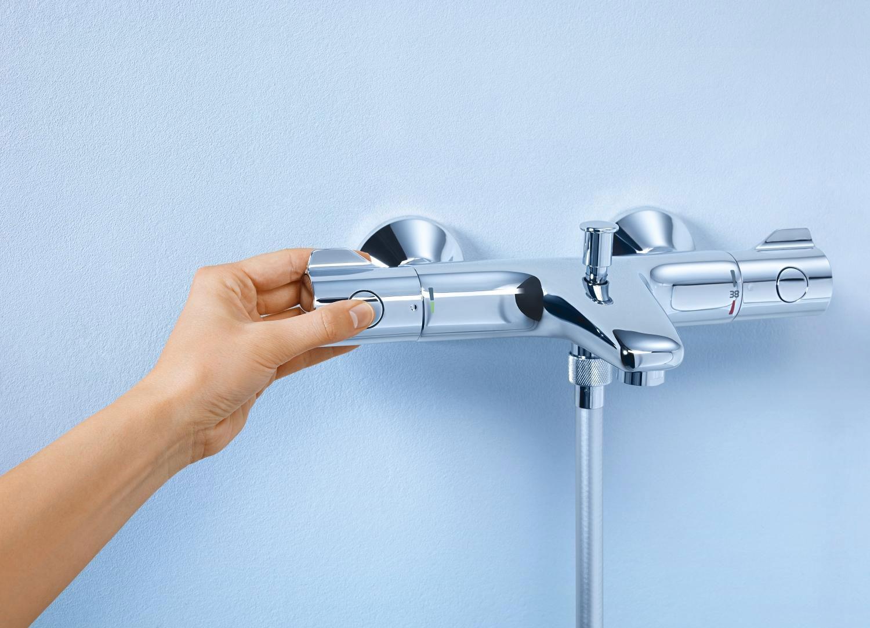 Baterie baie pentru cada / dus, Grohe Grohterm 800 34567000, montaj aplicat, dubla comanda, finisaj cromat