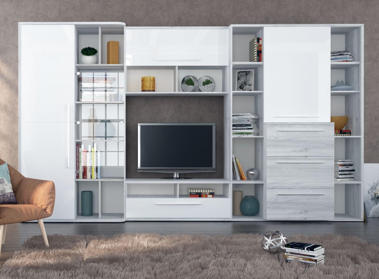 Biblioteca living Dafne, gri A480 + alb lucios, 359 cm, 7C