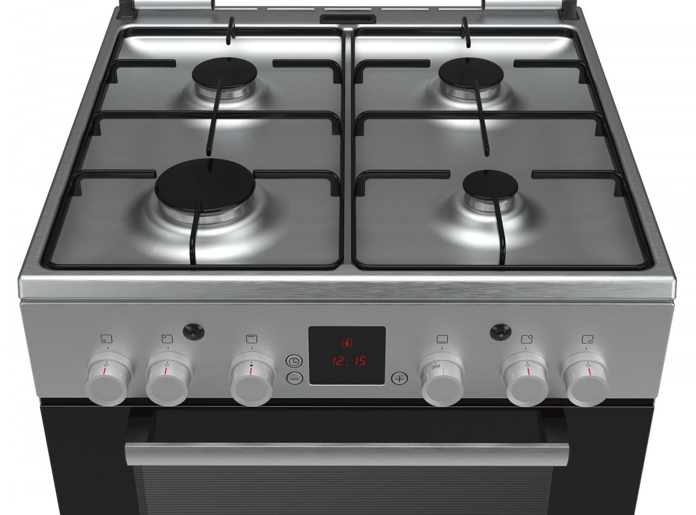 Aragaz pe gaz Bosch HGA345150E, 4 arzatoare, aprindere electrica, grill, rotisor, timer, latime 60 cm, inox