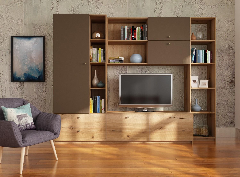 Biblioteca living Alice, stejar A458 + maro, 248 cm, 4C