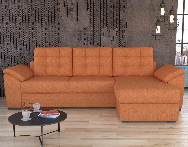 Coltar living extensibil pe stanga / dreapta Palermo, cu lada, portocaliu, 258 x 161 x 89 cm, 2C