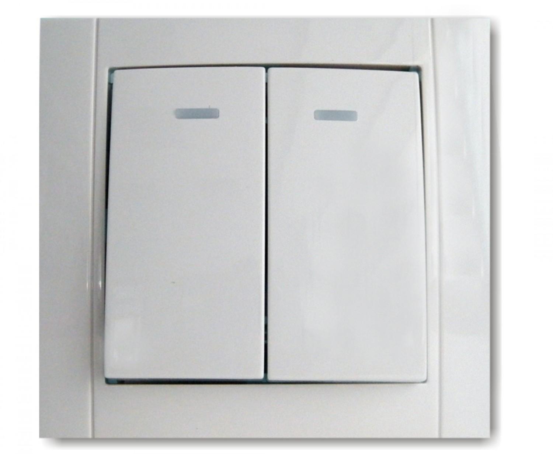 Intrerupator dublu cu indicator luminos Comtec Anemon, incastrat, rama inclusa, alb