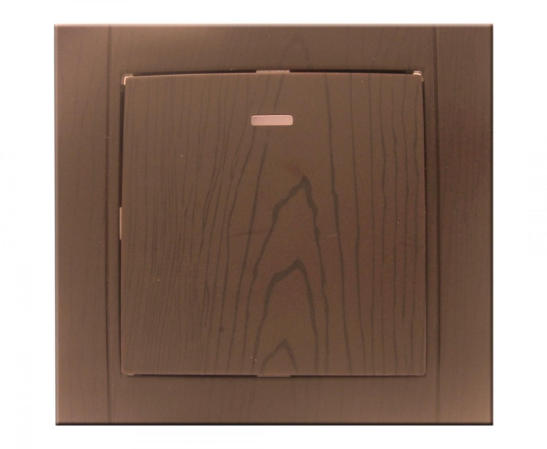 Intrerupator simplu cu indicator luminos Comtec Anemon, incastrat, rama inclusa, stejar