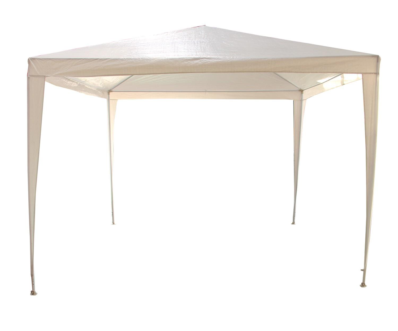 Pavilion gradina D13502, patrat, cadru metalic + polietilena, alb, 3 x 3 m