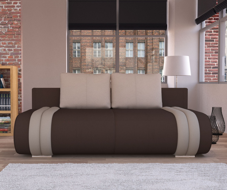Canapea extensibila 3 locuri Ianis, cu lada, maro + crem, 190 x 92 x 86 cm, 1C