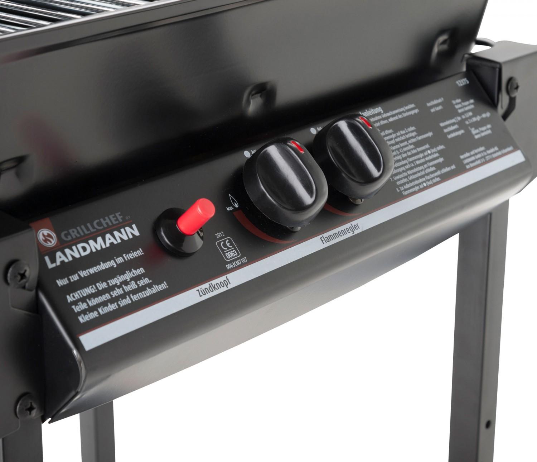Gratar gradina, pe gaz, Grill Chef , echipat cu un arzator dublu, otel, 48,5 x 38,5 cm si roti deplasare