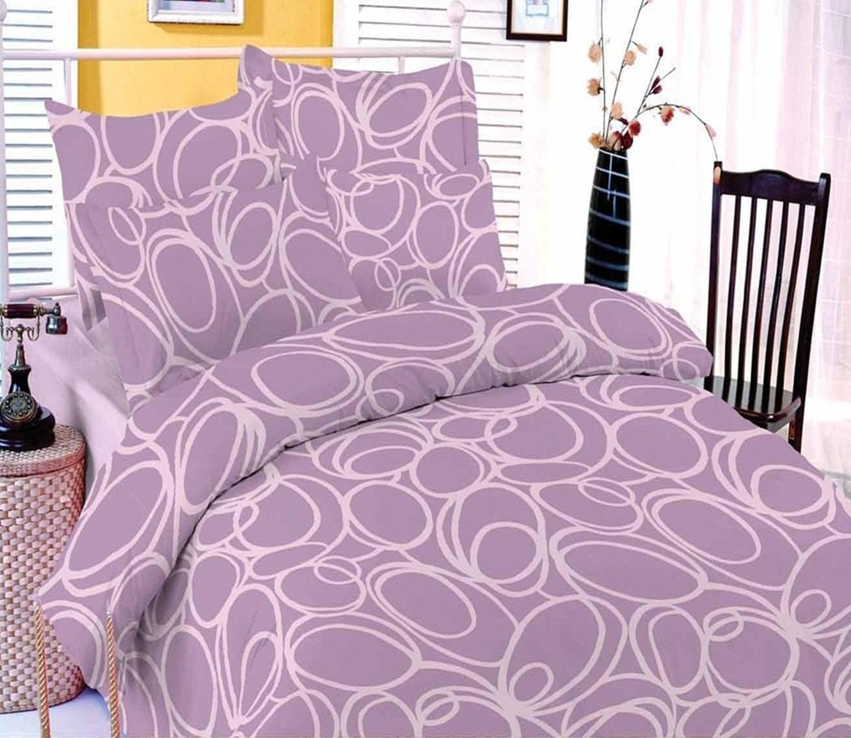 Lenjerie de pat, 2 persoane, Deluxe Pucioasa Cafeo, bumbac 100%, 4 piese, violet
