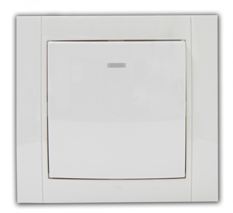 Intrerupator simplu cu indicator luminos Comtec Anemon, incastrat, rama inclusa, alb
