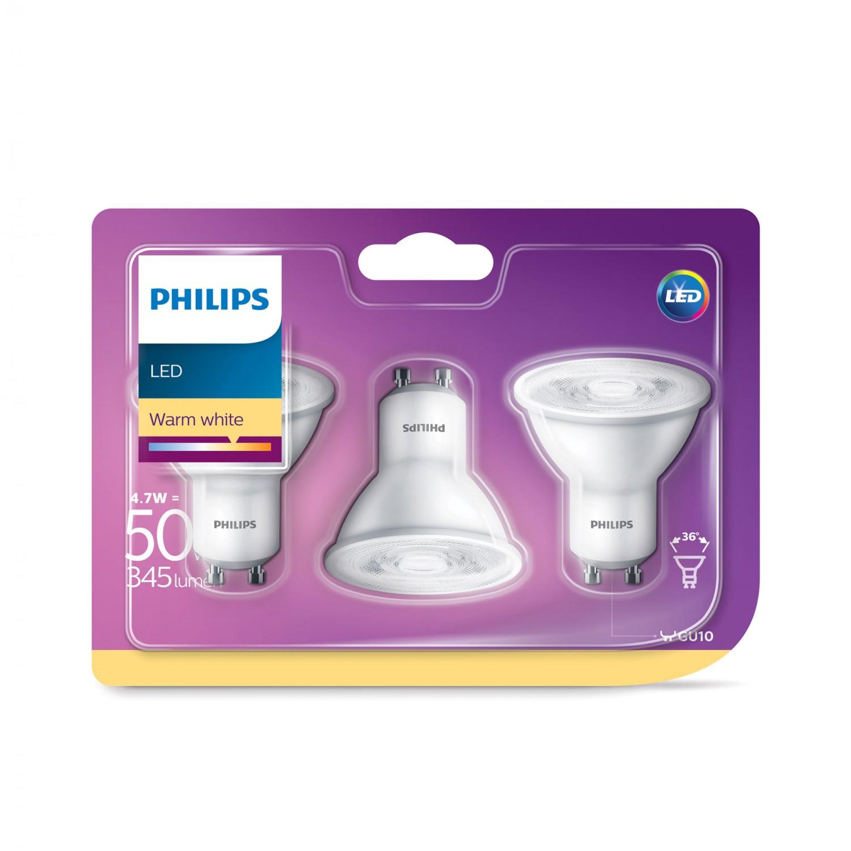 Bec LED Philips spot GU10 4.7W lumina calda, 3 buc