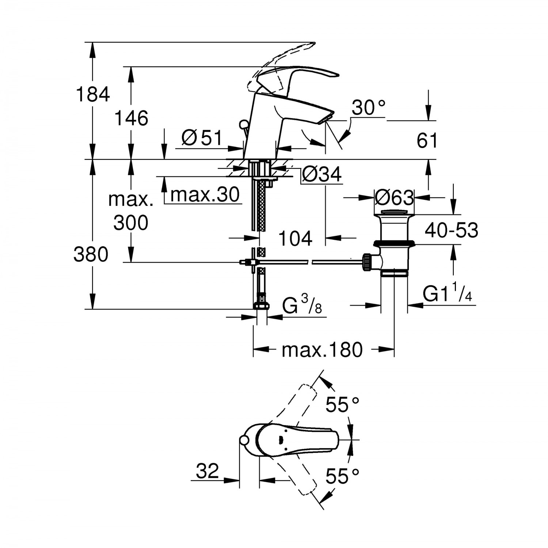 Baterie baie pentru lavoar, Grohe Eurosmart 33265002, montaj stativ, monocomanda, finisaj cromat