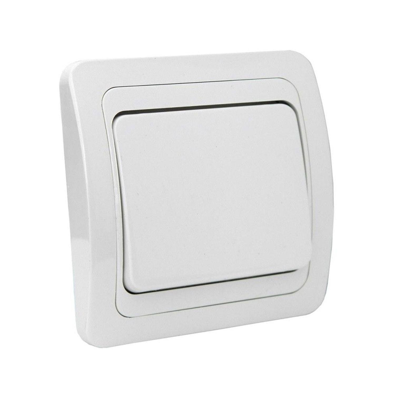 Intrerupator simplu Comtec Eco Premium MF0012-05201, incastrat, ceramica, rama inclusa, alb