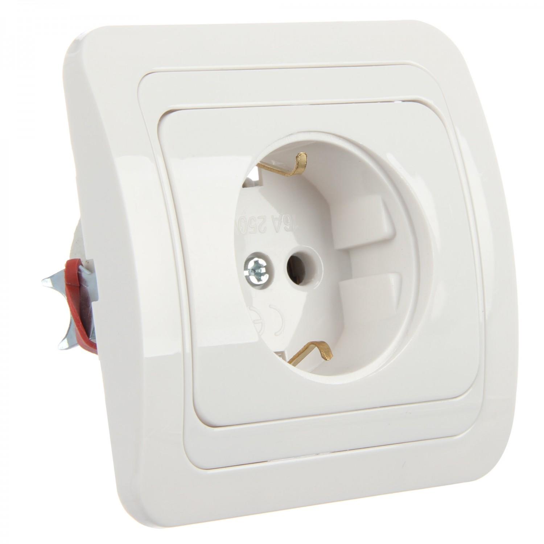 Priza simpla Comtec Eco MF0012-05253, incastrata, rama inclusa, contact de protectie, alba