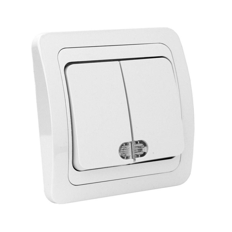 Intrerupator dublu cu indicator luminos Comtec Eco Premium MF0012-06007, incastrat, ceramica, rama inclusa, alb
