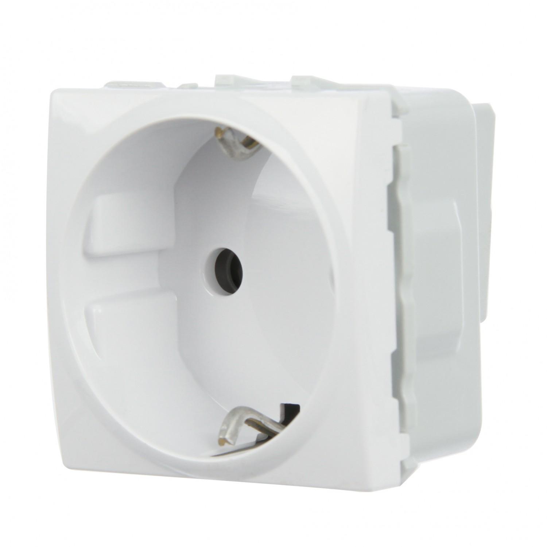 Priza simpla Schneider Electric Unica MGU3.037.18, incastrata, modulara - 2, contact de protectie, alba