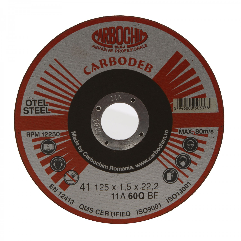 Disc debitare otel, Carbochim 11ABACH1TRS, 125 x 22.2 x 1.5 mm