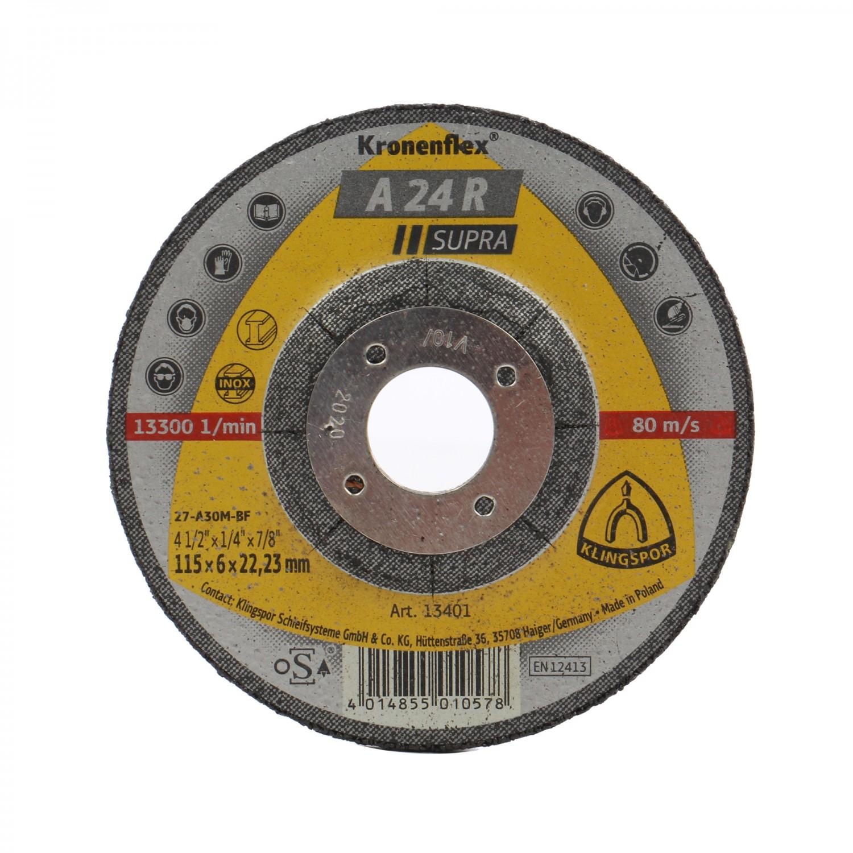 Disc polizare otel, Klingspor A 24 R Supra, 115 x 22.23 x 6 mm