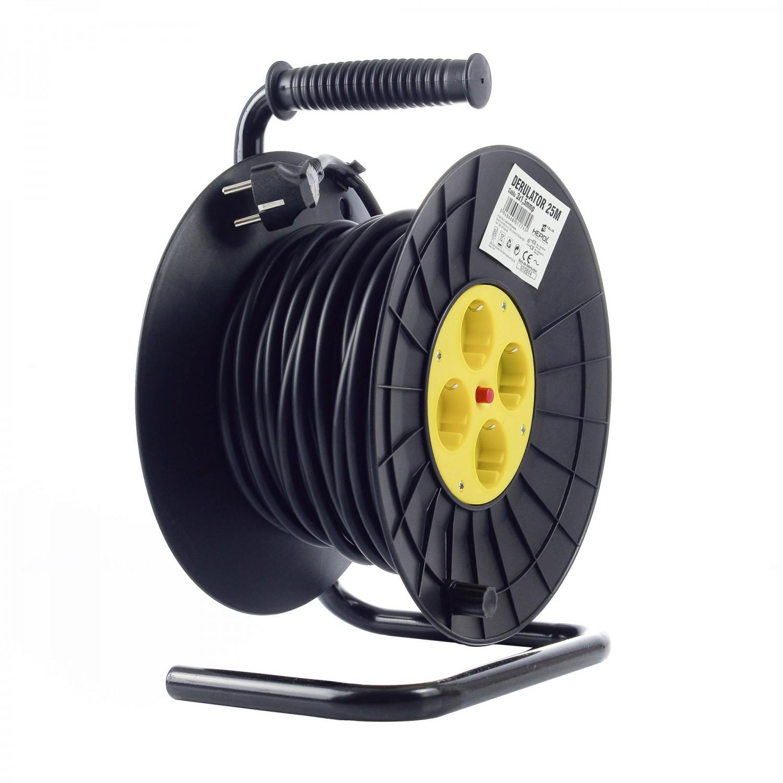 Derulator cablu electric Hepol, 4 prize, 25 m, 3 x 1.5 mmp, contact de protectie