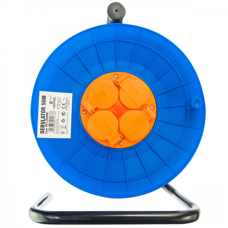 Derulator cablu electric Hepol, 4 prize, 50 m, 3 x 1.5 mmp, contact de protectie