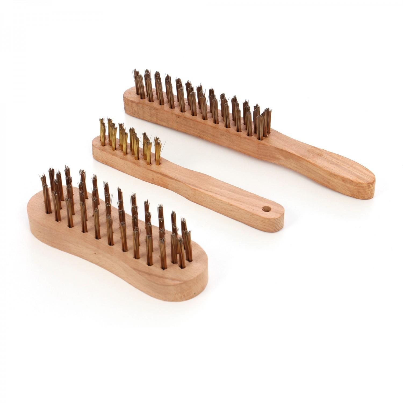 Set 3 perii cu maner din lemn