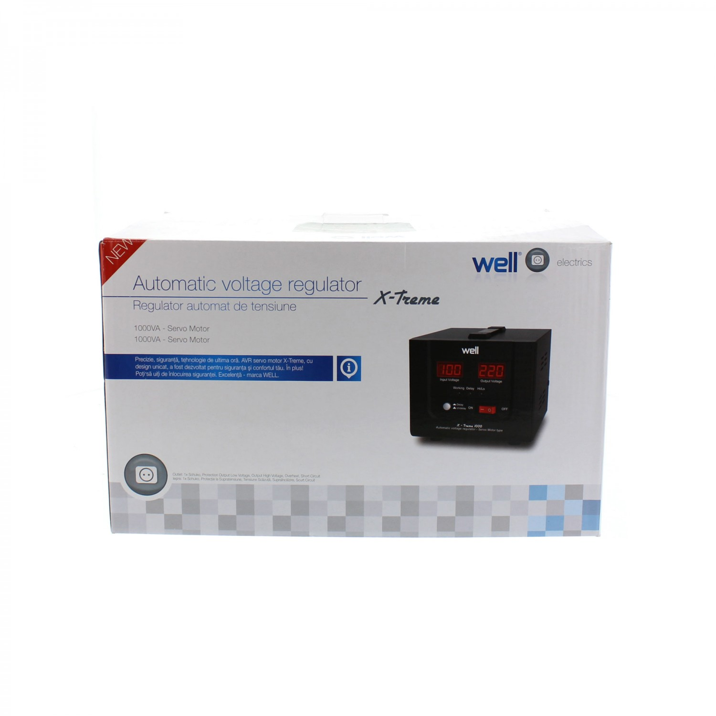 Stabilizator de tensiune cu servomotor, Well AVR-SRV-1000VA-WL, 1000VA / 600W