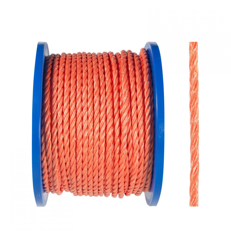 Sfoara polipropilena, rasucita, portocalie, 8 mm
