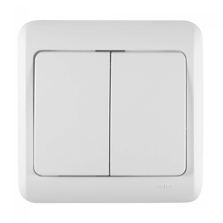 Intrerupator dublu Decor IMBD-ST N-05832 50505, incastrat, rama inclusa, alb