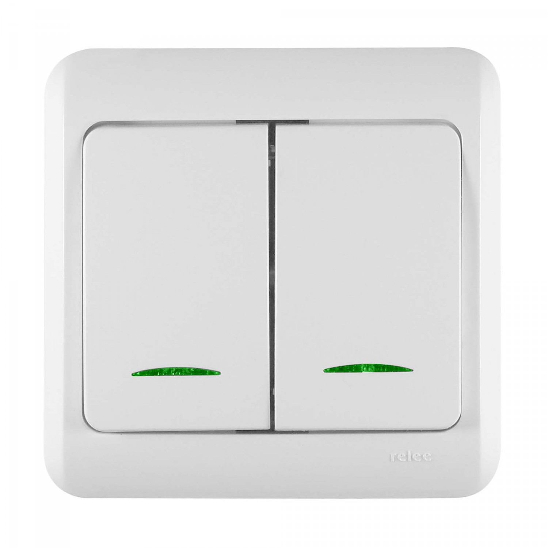Intrerupator dublu cu indicator luminos Decor IMBD-ST-I 50512, incastrat, rama inclusa, alb