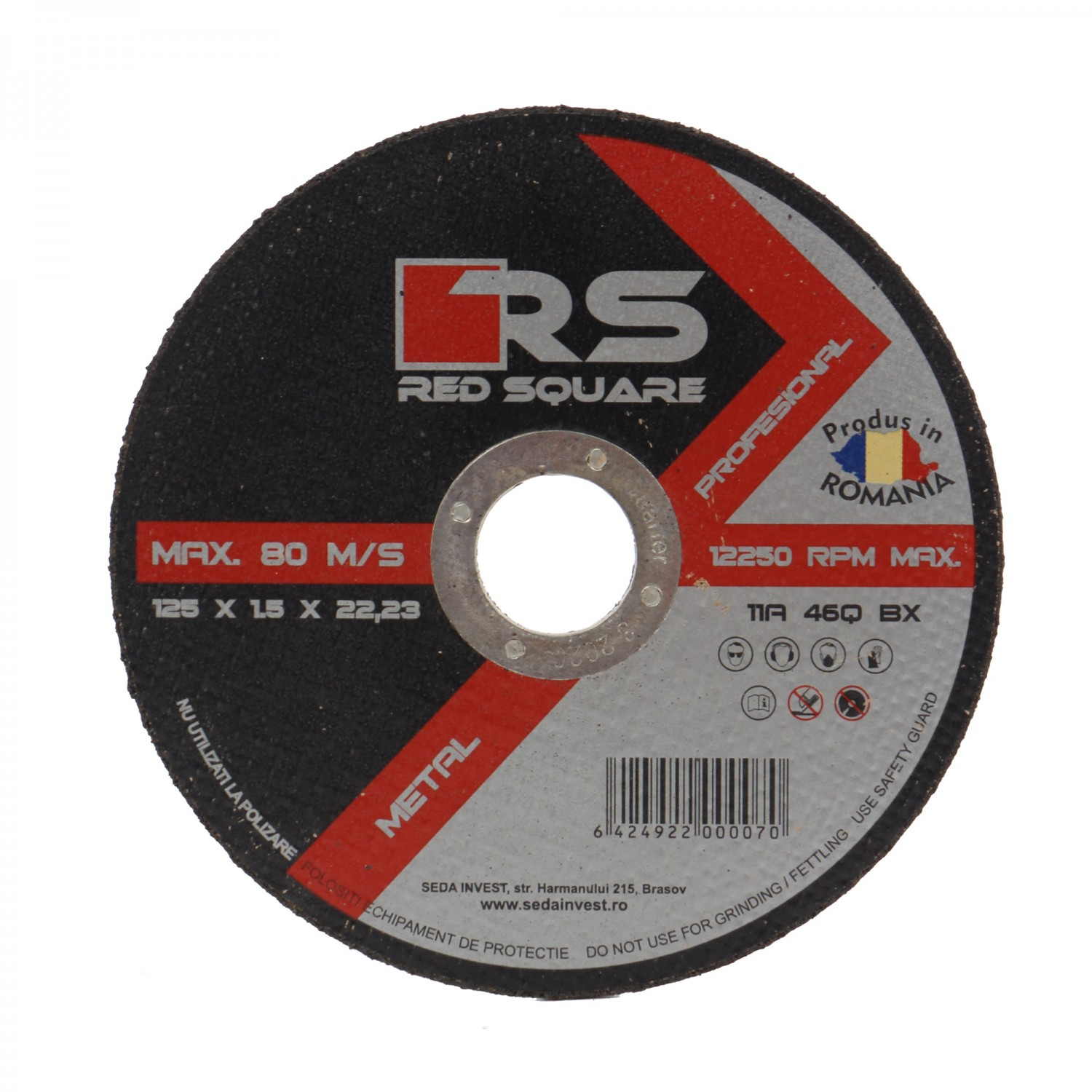 Disc debitare metal, Red Square, 125 x 22.2 x 1.5 mm