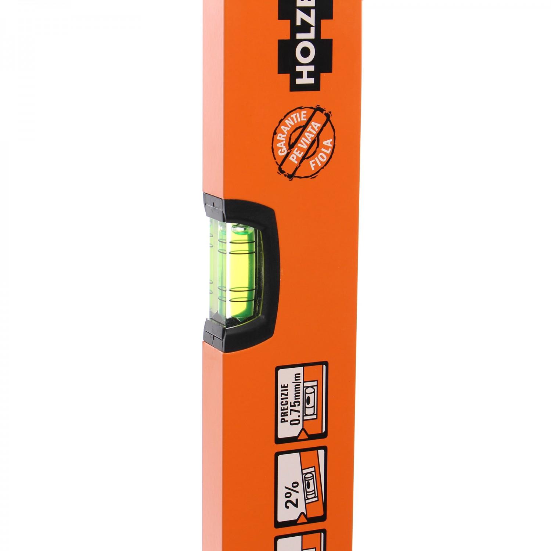 Nivela cu bula, Holzer 750-40-60, cu 2 indicatori, din aluminiu, 600 mm