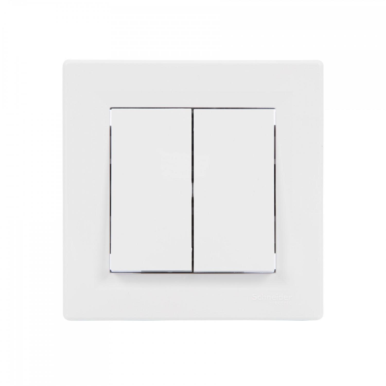 Intrerupator dublu Schneider Electric Asfora EPH0300121, incastrat, rama inclusa, alb
