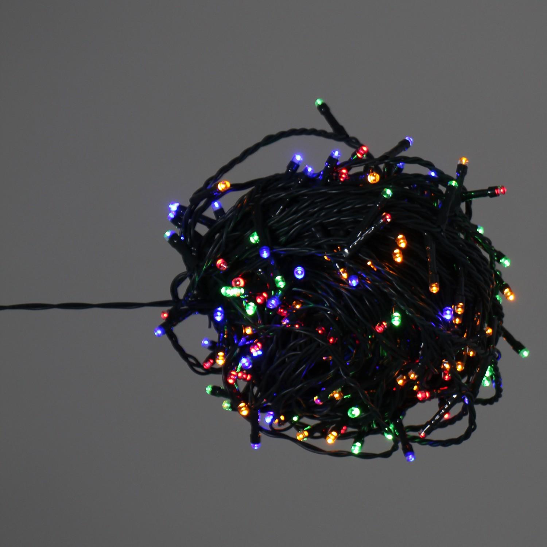 Instalatie brad Craciun, Hoff, 240 LED-uri multicolore, 23.9 m, controler, interior / exterior, alimentare baterii