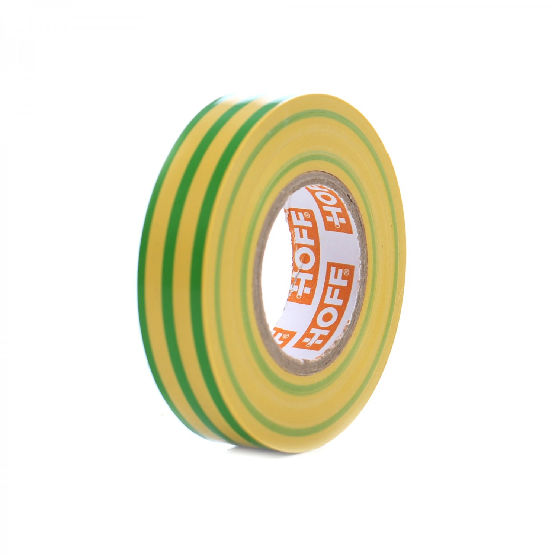 Banda izolatoare Hoff galben cu verde 20 m x 0.15 mm x 18 mm